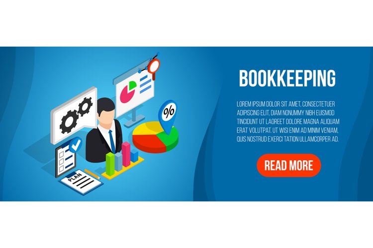 Bookkeeping concept banner, isometric style example image 1