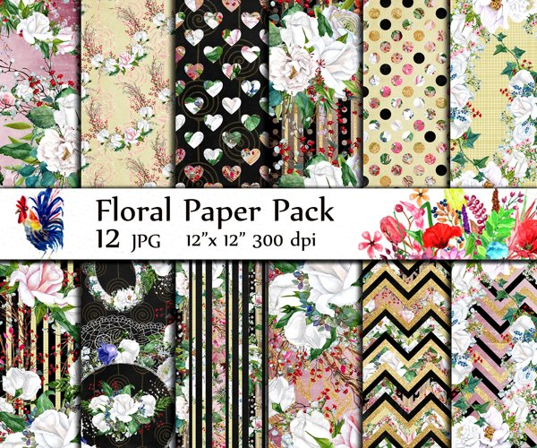 Watercolor Roses digital papers example image 1