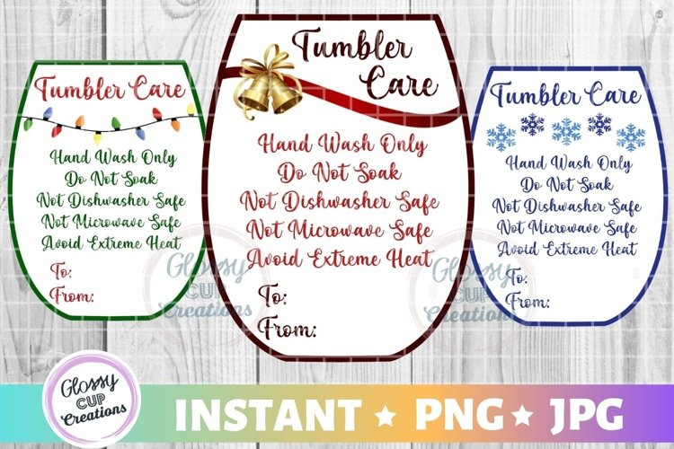 Small Tumbler Holiday Care Card Pack, PNG, Print and Cut example image 1