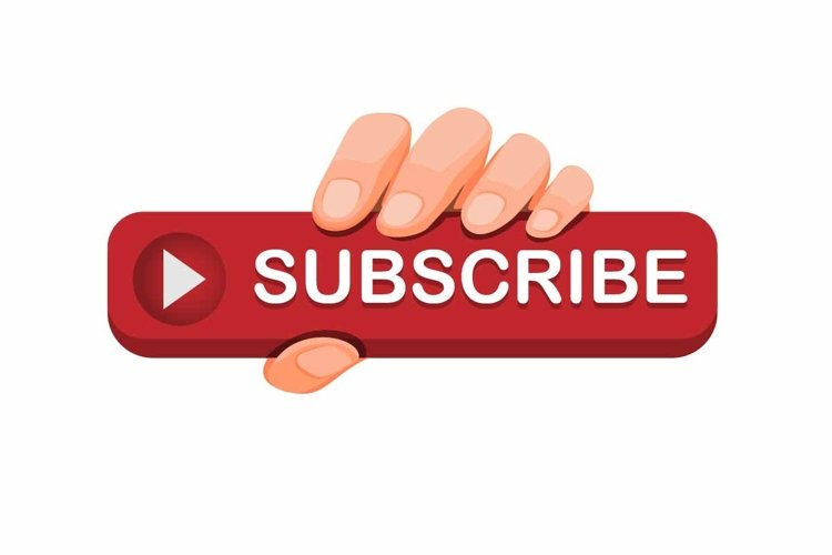 hand grab subscribe button icon for online video streaming example image 1