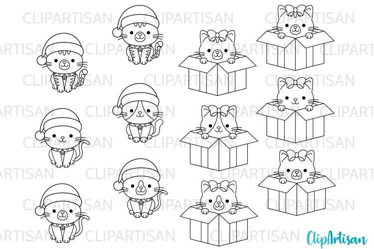 Christmas Cats Clipart Merry Christmas kittens Stamps example image 1