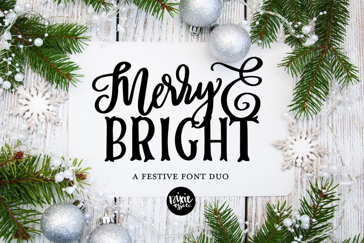 MERRY & BRIGHT a Festive Christmas Font Duo example image 1