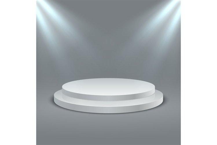 Round illuminated podium. Stage podium scene with lighting. example image 1