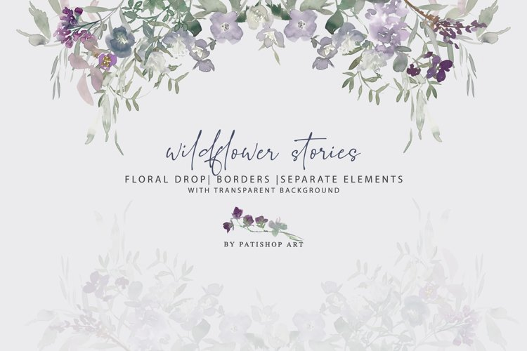 Watercolor Wildflower Clipart Floral Drop and Elements