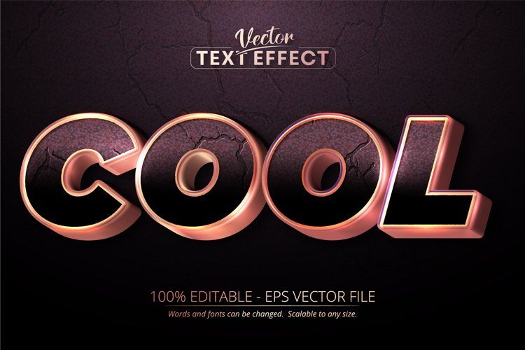 Cool text, shiny rose gold style editable text effect