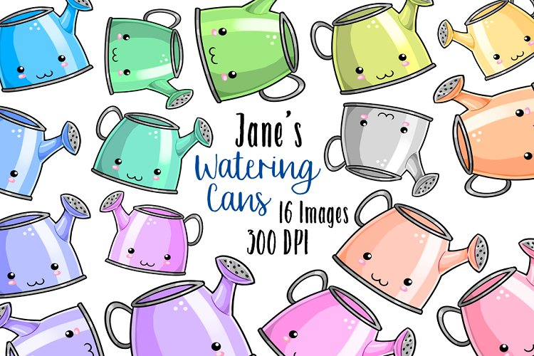 Kawaii Watering Cans Clipart example image 1