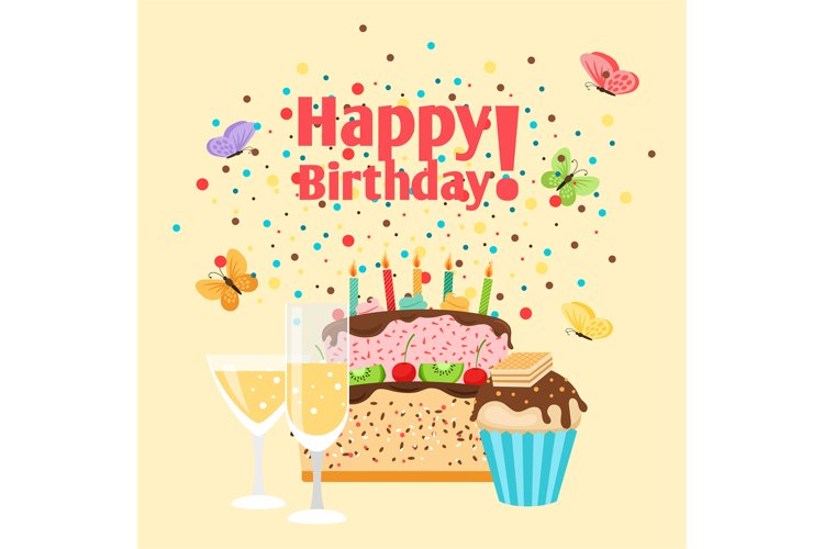 Muffin, cake and champagne birthday card example image 1
