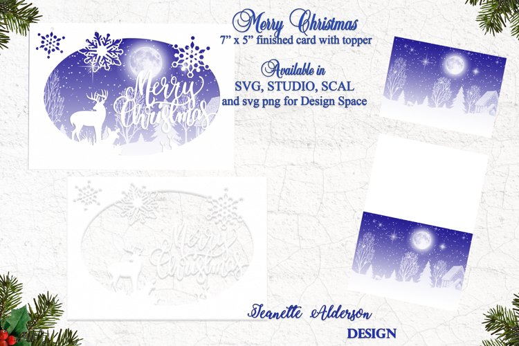 7x5 oval cutting file Merry Christmas card example image 1