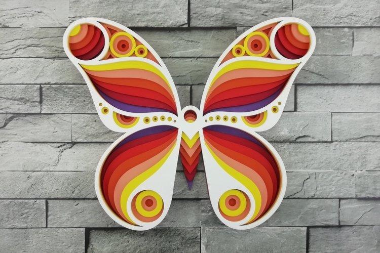 Layered Mandala SVG, Laser cut file Mandala, 3D Butterfly