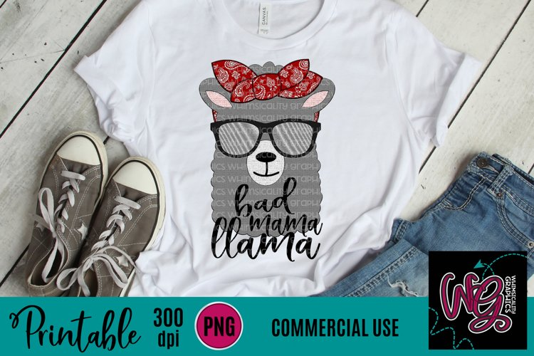 Bad Mama Llama Sublimation Printable example image 1
