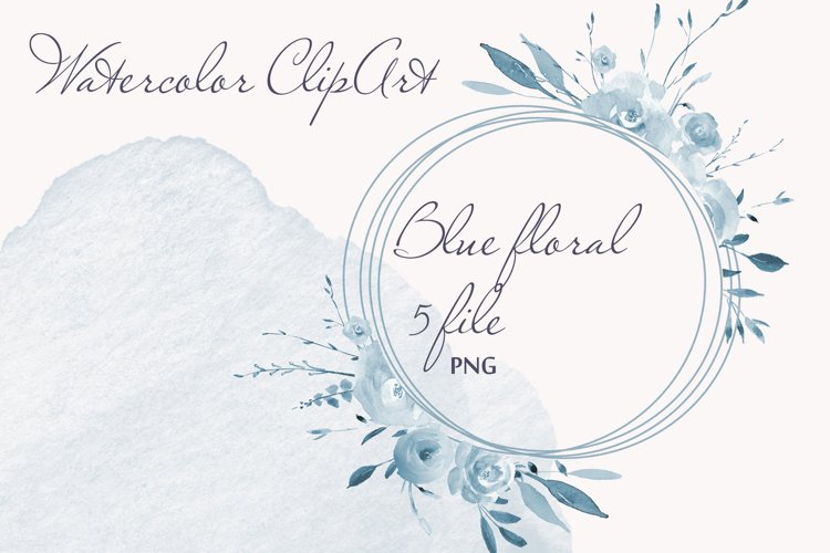 Pastel Watercolor Floral Clipart Blue for wedding invitation example image 1