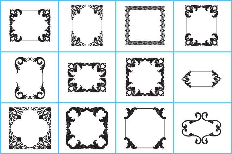 Frame Vintage ornament clipart svg. Monogram frame svg, Logo