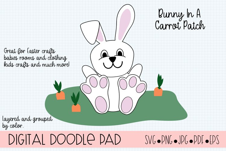 Easter Bunny Rabbit In a Carrot Patch SVG Cut File example image 1
