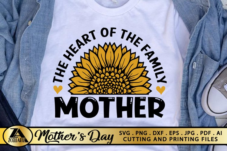 Mothers Day SVG PNG EPS DXF MOTHER SVG Mom Sunflower SVG example image 1