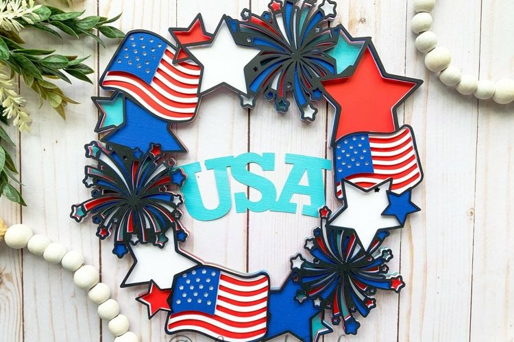 3D Layered Patriotic USA 4th of July Wreath- Digital File