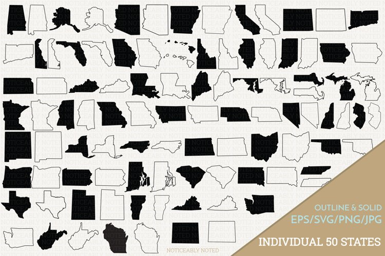 All 50 United States Vectors / Clip Art Files