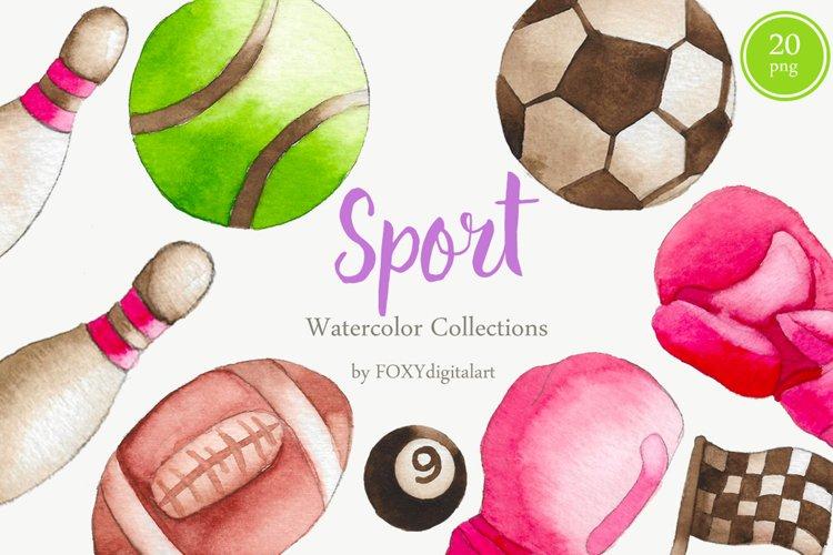 Watercolor Sport Baseballs Footballs Fitness Clipart Element example image 1