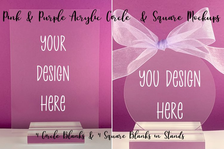 Pink & Purple Acrylic Mockups Circle and Square in Stands