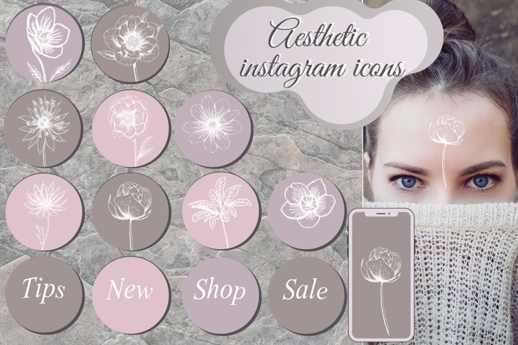 Pastel Flower instagram highlight icons, trendy stories example image 1