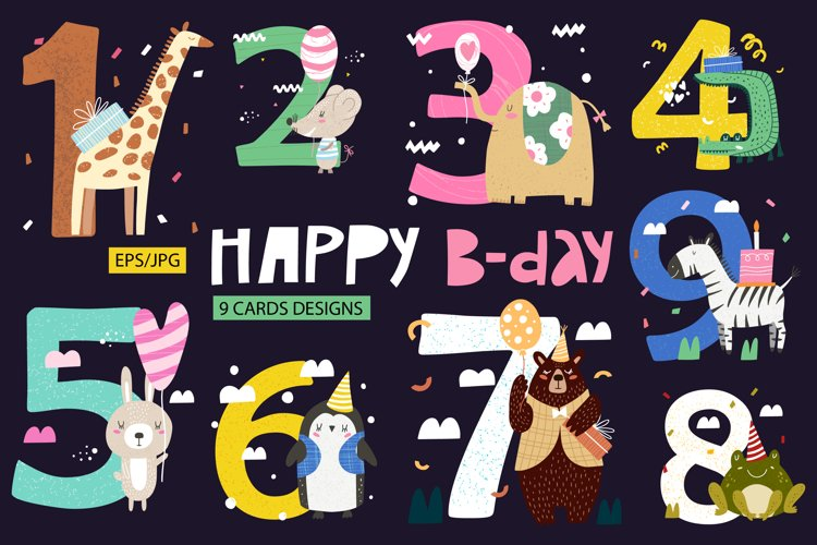 Birthday anniversary numbers with cute animals & birthday. example image 1
