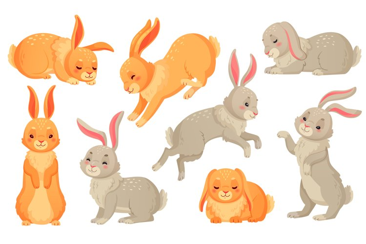 Cartoon bunny. Rabbits pets, easter bunnies and plush little example image 1