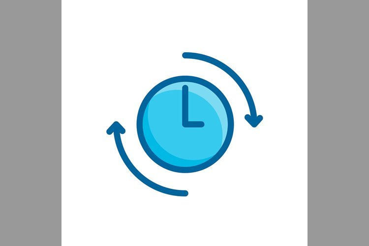 arrow, and clock, time management symbol blue color, Vector example image 1