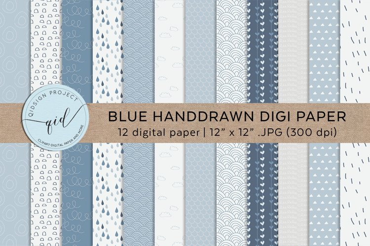 Blue Hand Drawn Digital Papers