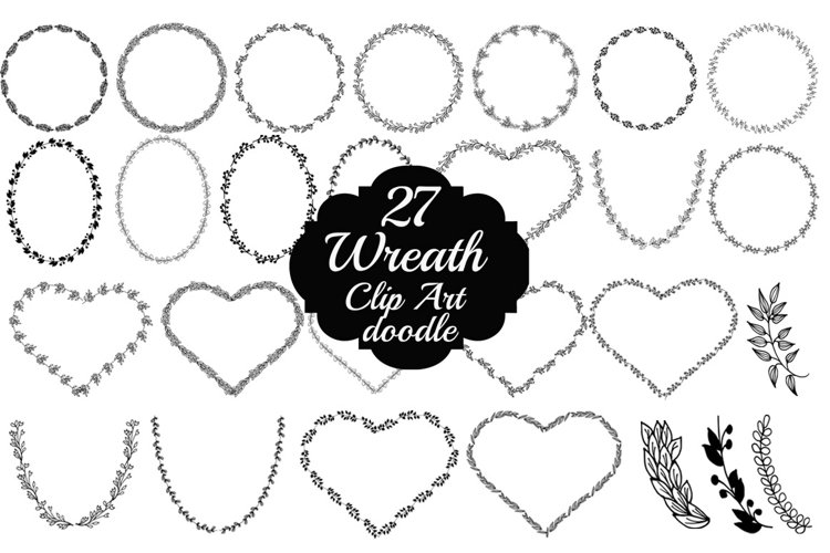 Doodle Wreath clipart example image 1