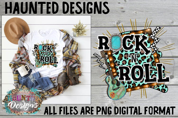 Rock N Roll Guitar Cheetah Distressed Sublimation Design example image 1