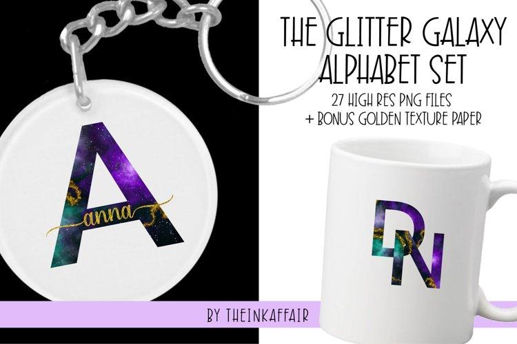 Glitter Galaxy Alphabet Sublimation PNG Bundle