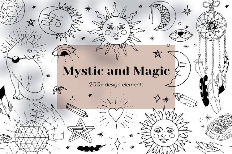 Mystic and Magic line art clipart