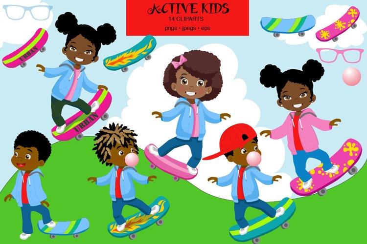 African American Kids, Skateboarding, Sportive kids