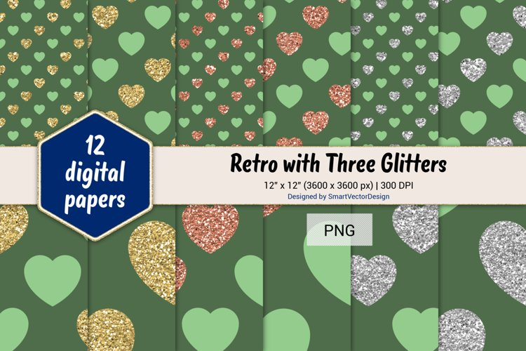Hearts Retro with Three Glitters Color Combo #42 example image 1