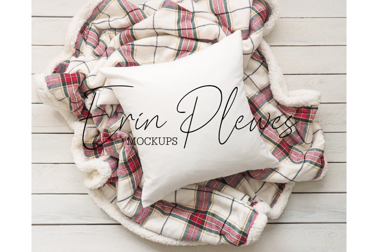 Pillow Mockup | Farmhouse Red Plaid Blanket Pillow Mock Up example image 1