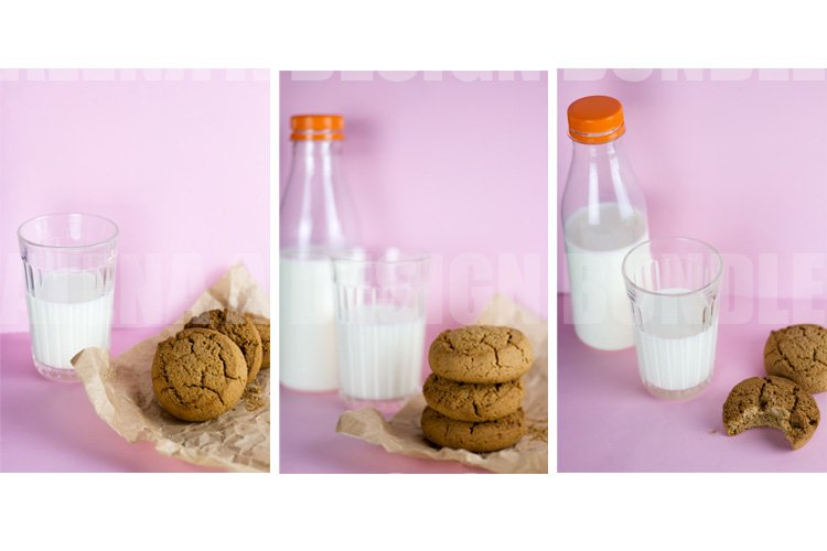 3 photos Cookies and Milk Pink Background