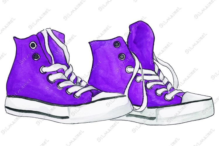 Watercolor violet purple sneakers pair shoes isolated vector example image 1