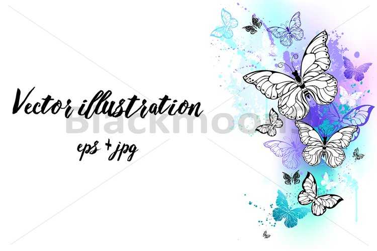 Flying Butterflies Watercolor example image 1