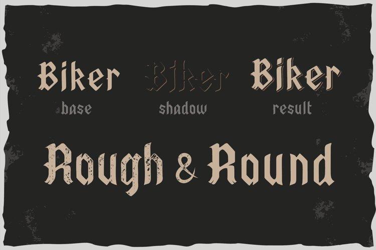 Old Biker. Gothic style vintage label font. example 1