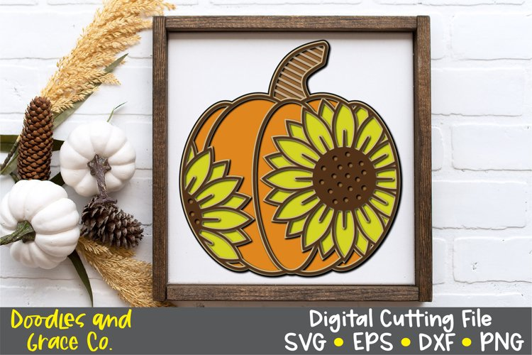 Sunflower Pumpkin Fall Layered SVG - EPS - DXF - PNG example image 1