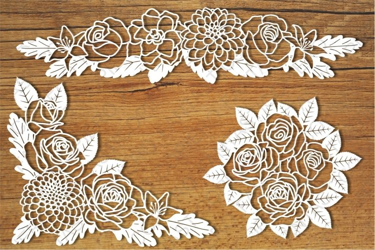 Floral Decorations 1 SVG files for Silhouette and Cricut. example image 1