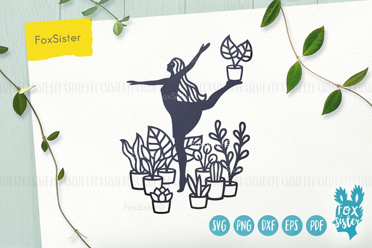 House Plants svg, Gardening Vector Cut File, plants svg example image 1