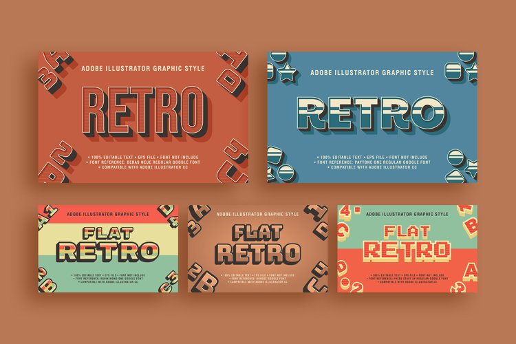 5 Retro Text Effect Graphic Styles Vector example image 1