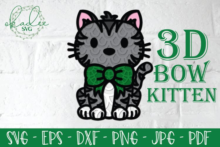 3D Christmas Cat SVG, Layered Kitten SVG, Papercut, Bow DXF example image 1