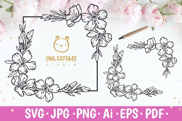 Cherry Blossom square Frame svg, Wedding Floral Monogram SVG