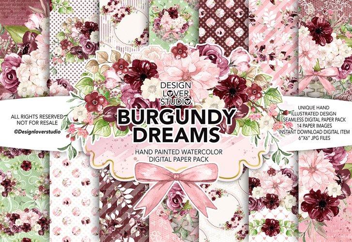 Watercolor BURGUNDY DREAMS digital paper pack example image 1