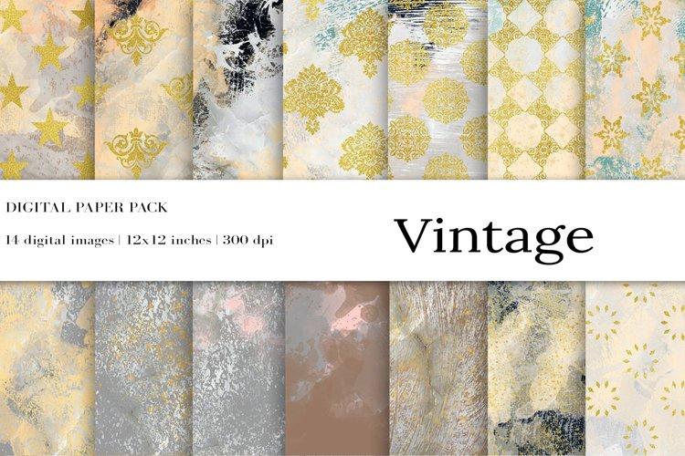 Gold Damask Digital Papers, Grunge, Damask Seamless Patterns example image 1