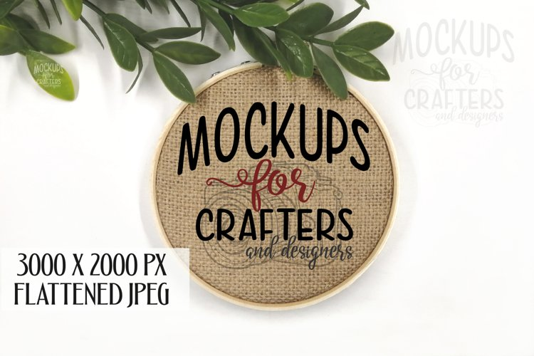Cross Stitch, Embroidery Hoop, Burlap, MOCK-UP, Crafts