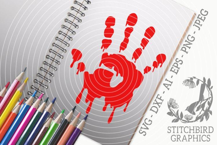 Bloody Handprint SVG, Silhouette Studio, Cricut, Eps, Dxf example image 1