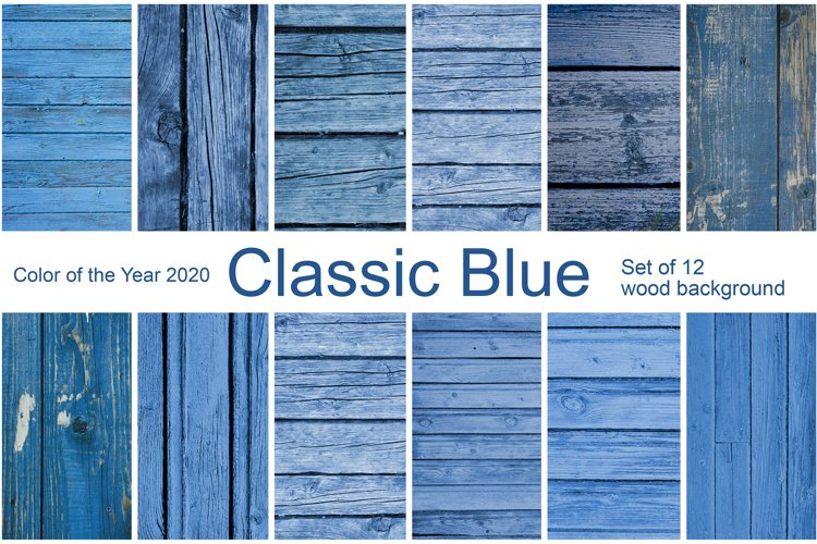 Classic Blue. 12 wood background. Color of the year 2020 example image 1