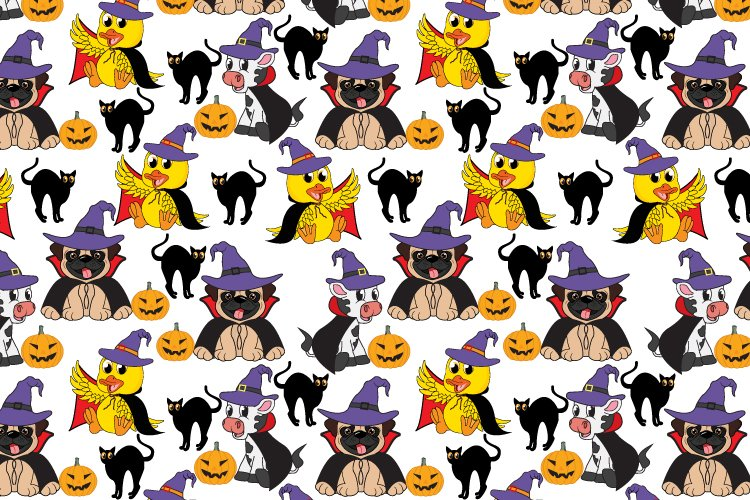 cute animal halloween party seamless pattern example image 1